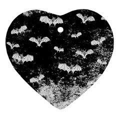 Vintage Halloween Bat Pattern Heart Ornament (two Sides) by Valentinaart