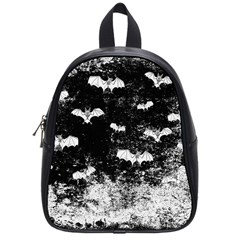 Vintage Halloween Bat Pattern School Bag (small) by Valentinaart