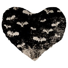 Vintage Halloween Bat Pattern Large 19  Premium Flano Heart Shape Cushions by Valentinaart