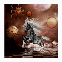 Steampunk, Awesome Steampunk Horse With Clocks And Gears In Silver Medium Glasses Cloth (2 Side) by FantasyWorld7