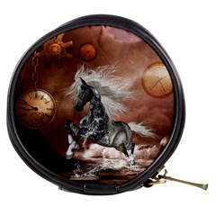 Steampunk, Awesome Steampunk Horse With Clocks And Gears In Silver Mini Makeup Bags by FantasyWorld7