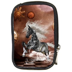 Steampunk, Awesome Steampunk Horse With Clocks And Gears In Silver Compact Camera Cases by FantasyWorld7