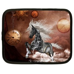 Steampunk, Awesome Steampunk Horse With Clocks And Gears In Silver Netbook Case (xxl)  by FantasyWorld7