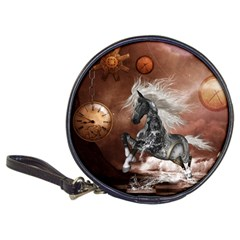 Steampunk, Awesome Steampunk Horse With Clocks And Gears In Silver Classic 20 Cd Wallets by FantasyWorld7