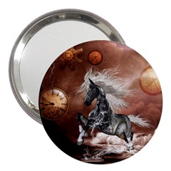 Steampunk, Awesome Steampunk Horse With Clocks And Gears In Silver 3  Handbag Mirrors by FantasyWorld7