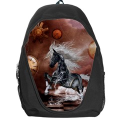 Steampunk, Awesome Steampunk Horse With Clocks And Gears In Silver Backpack Bag by FantasyWorld7