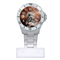 Steampunk, Awesome Steampunk Horse With Clocks And Gears In Silver Plastic Nurses Watch by FantasyWorld7