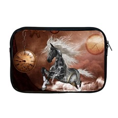 Steampunk, Awesome Steampunk Horse With Clocks And Gears In Silver Apple Macbook Pro 17  Zipper Case by FantasyWorld7