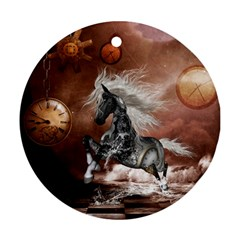 Steampunk, Awesome Steampunk Horse With Clocks And Gears In Silver Ornament (round)