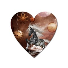 Steampunk, Awesome Steampunk Horse With Clocks And Gears In Silver Heart Magnet by FantasyWorld7