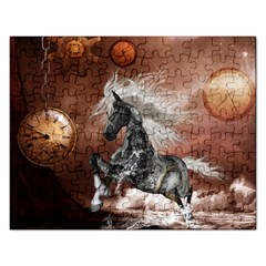 Steampunk, Awesome Steampunk Horse With Clocks And Gears In Silver Rectangular Jigsaw Puzzl by FantasyWorld7