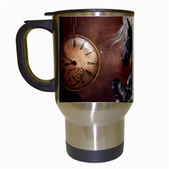 Steampunk, Awesome Steampunk Horse With Clocks And Gears In Silver Travel Mugs (white) by FantasyWorld7