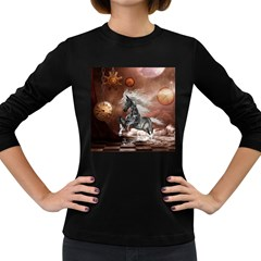 Steampunk, Awesome Steampunk Horse With Clocks And Gears In Silver Women s Long Sleeve Dark T Shirts by FantasyWorld7