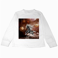Steampunk, Awesome Steampunk Horse With Clocks And Gears In Silver Kids Long Sleeve T Shirts by FantasyWorld7