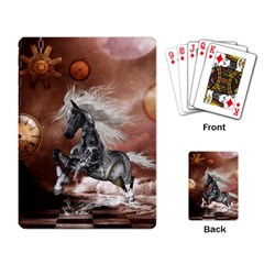 Steampunk, Awesome Steampunk Horse With Clocks And Gears In Silver Playing Card by FantasyWorld7