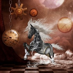 Steampunk, Awesome Steampunk Horse With Clocks And Gears In Silver Canvas 12  X 12   by FantasyWorld7