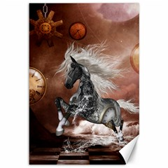 Steampunk, Awesome Steampunk Horse With Clocks And Gears In Silver Canvas 12  X 18
