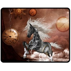 Steampunk, Awesome Steampunk Horse With Clocks And Gears In Silver Fleece Blanket (medium)  by FantasyWorld7