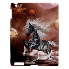 Steampunk, Awesome Steampunk Horse With Clocks And Gears In Silver Apple Ipad 3/4 Hardshell Case by FantasyWorld7