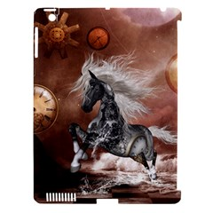 Steampunk, Awesome Steampunk Horse With Clocks And Gears In Silver Apple Ipad 3/4 Hardshell Case (compatible With Smart Cover) by FantasyWorld7