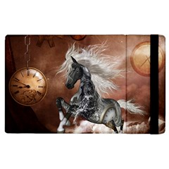 Steampunk, Awesome Steampunk Horse With Clocks And Gears In Silver Apple Ipad 3/4 Flip Case by FantasyWorld7