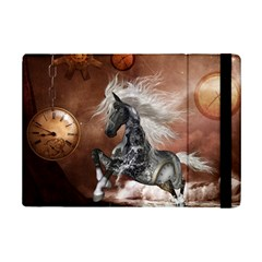 Steampunk, Awesome Steampunk Horse With Clocks And Gears In Silver Ipad Mini 2 Flip Cases by FantasyWorld7