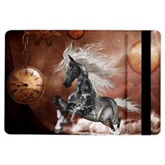 Steampunk, Awesome Steampunk Horse With Clocks And Gears In Silver Ipad Air Flip by FantasyWorld7