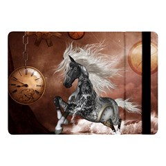 Steampunk, Awesome Steampunk Horse With Clocks And Gears In Silver Apple Ipad Pro 10 5   Flip Case by FantasyWorld7