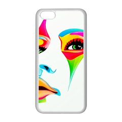 Colourful Art Face Apple Iphone 5c Seamless Case (white) by MaryIllustrations