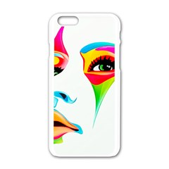 Colourful Art Face Apple Iphone 6/6s White Enamel Case by MaryIllustrations