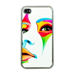 Colourful Art Face Apple Iphone 4 Case (clear) by MaryIllustrations