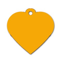 Pale Pumpkin Orange Creepy Hollow Halloween  Dog Tag Heart (one Side) by PodArtist