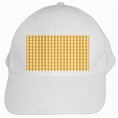 Pale Pumpkin Orange And White Halloween Gingham Check White Cap by PodArtist