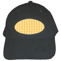 Pale Pumpkin Orange And White Halloween Gingham Check Black Cap by PodArtist