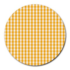 Pale Pumpkin Orange And White Halloween Gingham Check Round Mousepads by PodArtist