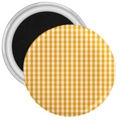 Pale Pumpkin Orange And White Halloween Gingham Check 3  Magnets by PodArtist
