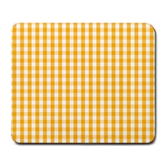 Pale Pumpkin Orange And White Halloween Gingham Check Large Mousepads by PodArtist