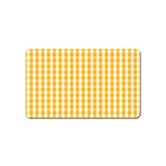 Pale Pumpkin Orange And White Halloween Gingham Check Magnet (name Card)