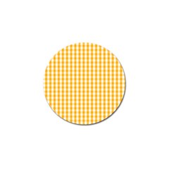Pale Pumpkin Orange And White Halloween Gingham Check Golf Ball Marker (10 Pack) by PodArtist