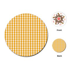 Pale Pumpkin Orange And White Halloween Gingham Check Playing Cards (round)  by PodArtist