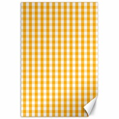 Pale Pumpkin Orange And White Halloween Gingham Check Canvas 24  X 36  by PodArtist