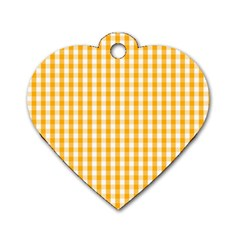 Pale Pumpkin Orange And White Halloween Gingham Check Dog Tag Heart (one Side) by PodArtist