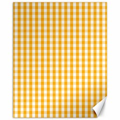Pale Pumpkin Orange And White Halloween Gingham Check Canvas 11  X 14   by PodArtist