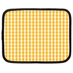 Pale Pumpkin Orange And White Halloween Gingham Check Netbook Case (large) by PodArtist