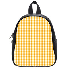 Pale Pumpkin Orange And White Halloween Gingham Check School Bag (small) by PodArtist