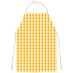 Pale Pumpkin Orange And White Halloween Gingham Check Full Print Aprons by PodArtist