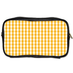 Pale Pumpkin Orange And White Halloween Gingham Check Toiletries Bags 2 Side by PodArtist