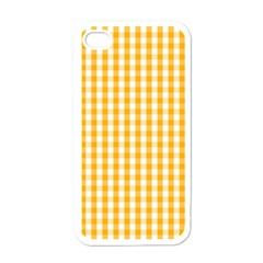 Pale Pumpkin Orange And White Halloween Gingham Check Apple Iphone 4 Case (white) by PodArtist