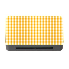 Pale Pumpkin Orange And White Halloween Gingham Check Memory Card Reader With Cf by PodArtist