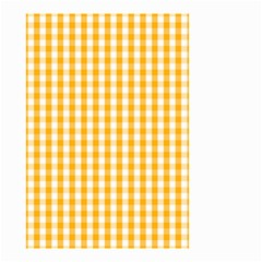 Pale Pumpkin Orange And White Halloween Gingham Check Small Garden Flag (two Sides) by PodArtist